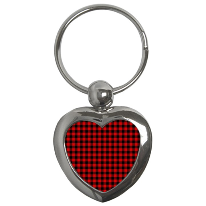 Lumberjack Plaid Fabric Pattern Red Black Key Chains (Heart)