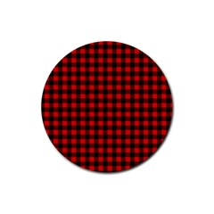 Lumberjack Plaid Fabric Pattern Red Black Rubber Coaster (round)  by EDDArt