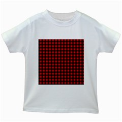 Lumberjack Plaid Fabric Pattern Red Black Kids White T Shirts