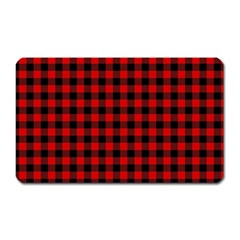 Lumberjack Plaid Fabric Pattern Red Black Magnet (rectangular) by EDDArt