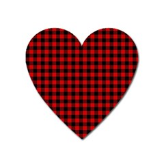 Lumberjack Plaid Fabric Pattern Red Black Heart Magnet
