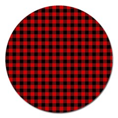 Lumberjack Plaid Fabric Pattern Red Black Magnet 5  (round)