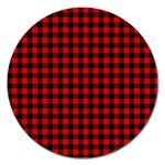 Lumberjack Plaid Fabric Pattern Red Black Magnet 5  (Round) Front