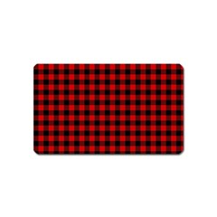 Lumberjack Plaid Fabric Pattern Red Black Magnet (name Card)