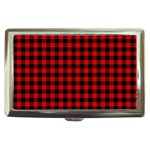 Lumberjack Plaid Fabric Pattern Red Black Cigarette Money Cases Front