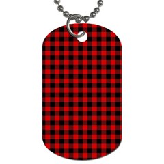 Lumberjack Plaid Fabric Pattern Red Black Dog Tag (two Sides) by EDDArt