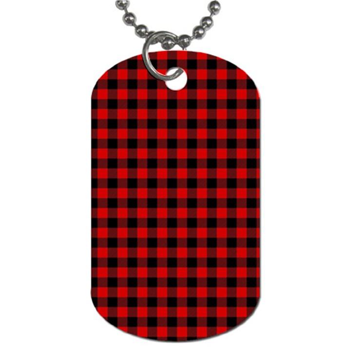 Lumberjack Plaid Fabric Pattern Red Black Dog Tag (Two Sides)