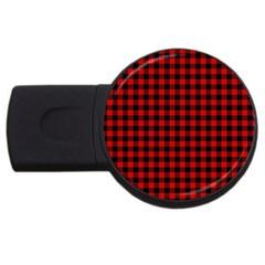 Lumberjack Plaid Fabric Pattern Red Black USB Flash Drive Round (2 GB)