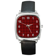 Lumberjack Plaid Fabric Pattern Red Black Square Metal Watch