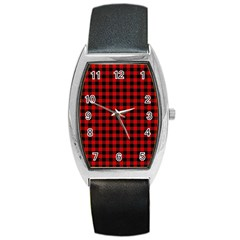 Lumberjack Plaid Fabric Pattern Red Black Barrel Style Metal Watch by EDDArt
