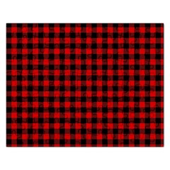 Lumberjack Plaid Fabric Pattern Red Black Rectangular Jigsaw Puzzl by EDDArt