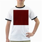 Lumberjack Plaid Fabric Pattern Red Black Ringer T-Shirts Front