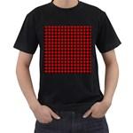 Lumberjack Plaid Fabric Pattern Red Black Men s T-Shirt (Black) (Two Sided)