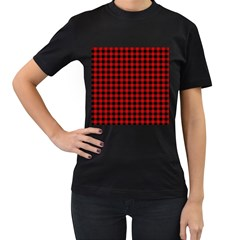 Lumberjack Plaid Fabric Pattern Red Black Women s T Shirt (black) (two Sided)