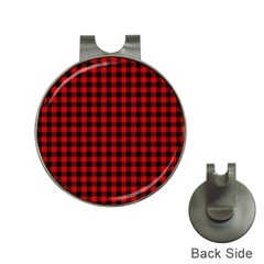Lumberjack Plaid Fabric Pattern Red Black Hat Clips With Golf Markers by EDDArt