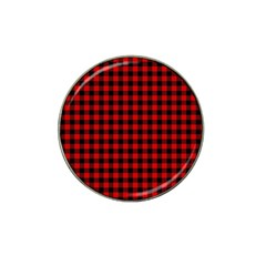 Lumberjack Plaid Fabric Pattern Red Black Hat Clip Ball Marker (4 Pack) by EDDArt