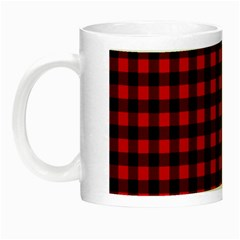 Lumberjack Plaid Fabric Pattern Red Black Night Luminous Mugs by EDDArt