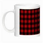 Lumberjack Plaid Fabric Pattern Red Black Night Luminous Mugs Left