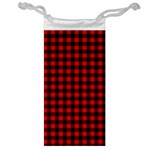 Lumberjack Plaid Fabric Pattern Red Black Jewelry Bags Front