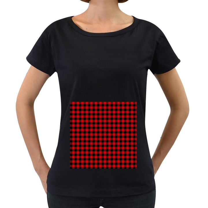 Lumberjack Plaid Fabric Pattern Red Black Women s Loose-Fit T-Shirt (Black)