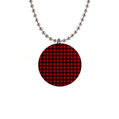 Lumberjack Plaid Fabric Pattern Red Black Button Necklaces by EDDArt