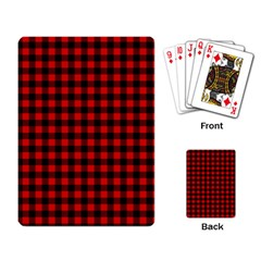 Lumberjack Plaid Fabric Pattern Red Black Playing Card