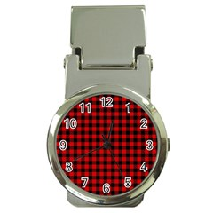 Lumberjack Plaid Fabric Pattern Red Black Money Clip Watches