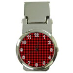 Lumberjack Plaid Fabric Pattern Red Black Money Clip Watches Front