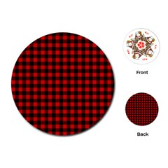 Lumberjack Plaid Fabric Pattern Red Black Playing Cards (round)  by EDDArt