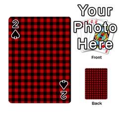 Lumberjack Plaid Fabric Pattern Red Black Playing Cards 54 Designs