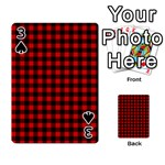 Lumberjack Plaid Fabric Pattern Red Black Playing Cards 54 Designs  Front - Spade3