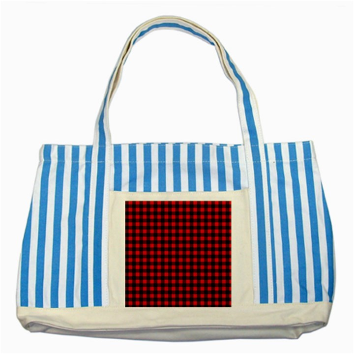 Lumberjack Plaid Fabric Pattern Red Black Striped Blue Tote Bag