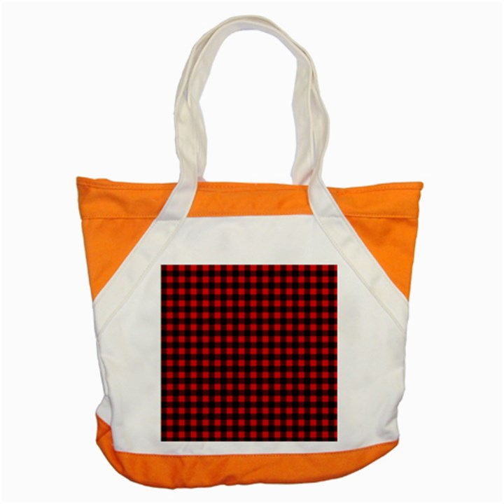 Lumberjack Plaid Fabric Pattern Red Black Accent Tote Bag