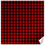 Lumberjack Plaid Fabric Pattern Red Black Canvas 12  x 12