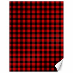 Lumberjack Plaid Fabric Pattern Red Black Canvas 12  X 16   by EDDArt