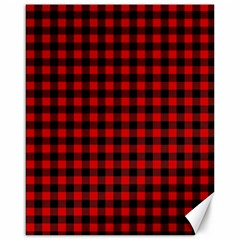 Lumberjack Plaid Fabric Pattern Red Black Canvas 16  X 20   by EDDArt