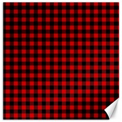 Lumberjack Plaid Fabric Pattern Red Black Canvas 20  X 20   by EDDArt