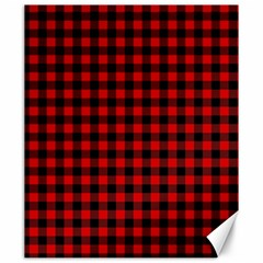 Lumberjack Plaid Fabric Pattern Red Black Canvas 20  X 24   by EDDArt