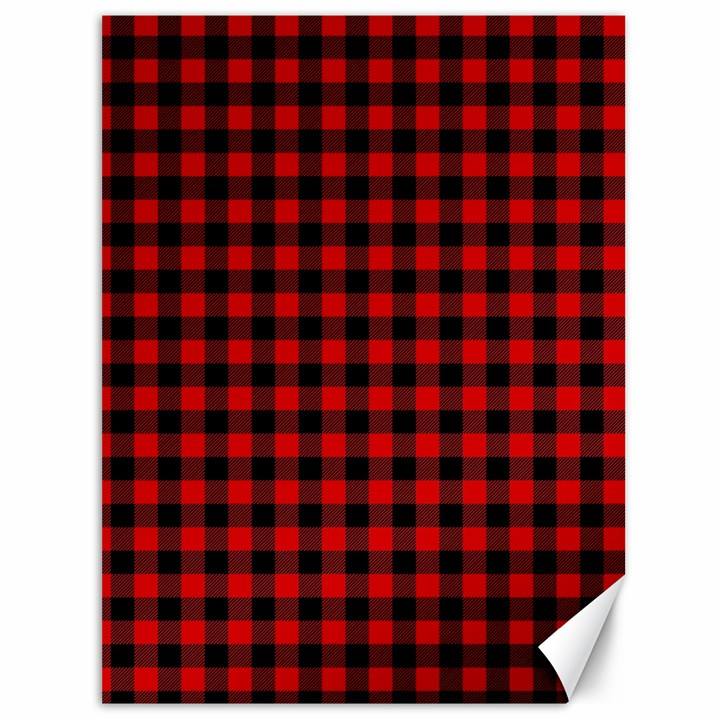 Lumberjack Plaid Fabric Pattern Red Black Canvas 36  x 48