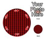 Lumberjack Plaid Fabric Pattern Red Black Playing Cards 54 (Round)  Front - DiamondA