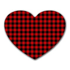 Lumberjack Plaid Fabric Pattern Red Black Heart Mousepads by EDDArt