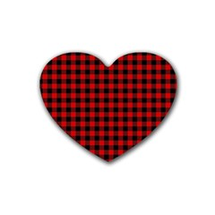 Lumberjack Plaid Fabric Pattern Red Black Rubber Coaster (heart)  by EDDArt