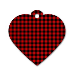 Lumberjack Plaid Fabric Pattern Red Black Dog Tag Heart (one Side)
