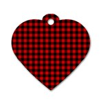 Lumberjack Plaid Fabric Pattern Red Black Dog Tag Heart (One Side) Front