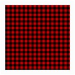 Lumberjack Plaid Fabric Pattern Red Black Medium Glasses Cloth (2-Side) Front