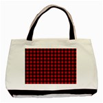 Lumberjack Plaid Fabric Pattern Red Black Basic Tote Bag (Two Sides) Front