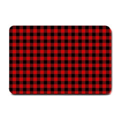 Lumberjack Plaid Fabric Pattern Red Black Small Doormat  by EDDArt