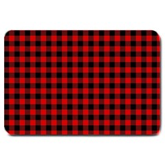 Lumberjack Plaid Fabric Pattern Red Black Large Doormat  by EDDArt
