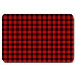 Lumberjack Plaid Fabric Pattern Red Black Large Doormat