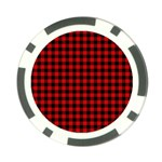 Lumberjack Plaid Fabric Pattern Red Black Poker Chip Card Guards Front